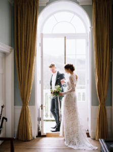 Bride and groom, wedding styling, Cornwall elopement