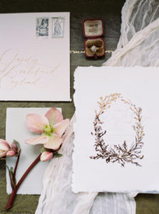 Wedding stationary, wedding styling, wedding ring, film photography, fine art stationary