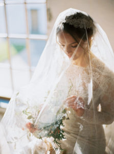bridal inspiration, wedding dress, wedding flowers, wedding veil, film photography, light,