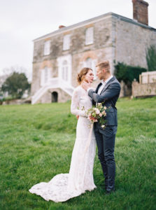 Bride and groom, Cornwall elopement, wedding dress, groom, wedding flowers, outdoor wedding