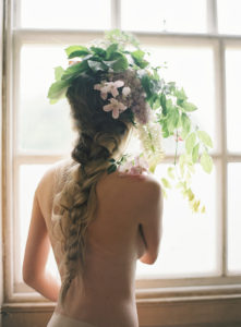Floral head piece - fishtail plait wedding hair